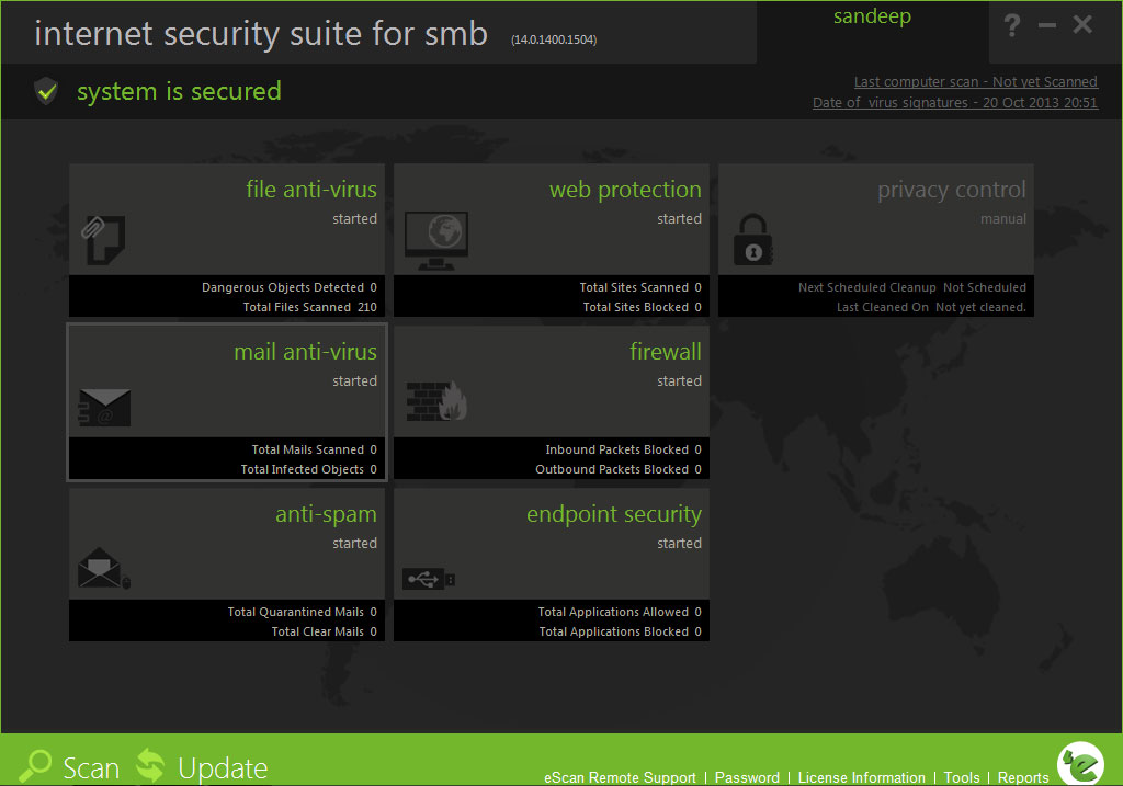 eScan Internet Security Suite with Cloud Security for SMB Screenshot
